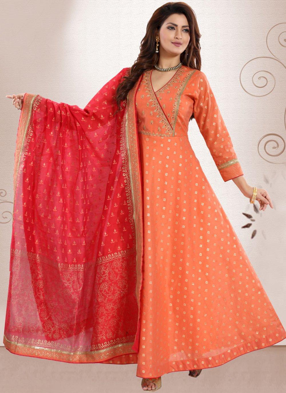 Chanderi Peach Embroidered Anarkali Salwar Suit