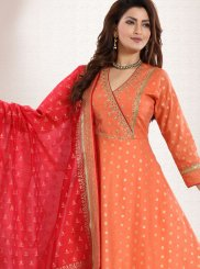 Chanderi Peach Embroidered Anarkali Salwar Suit
