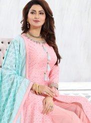 Chanderi Pink Palazzo Designer Salwar Suit