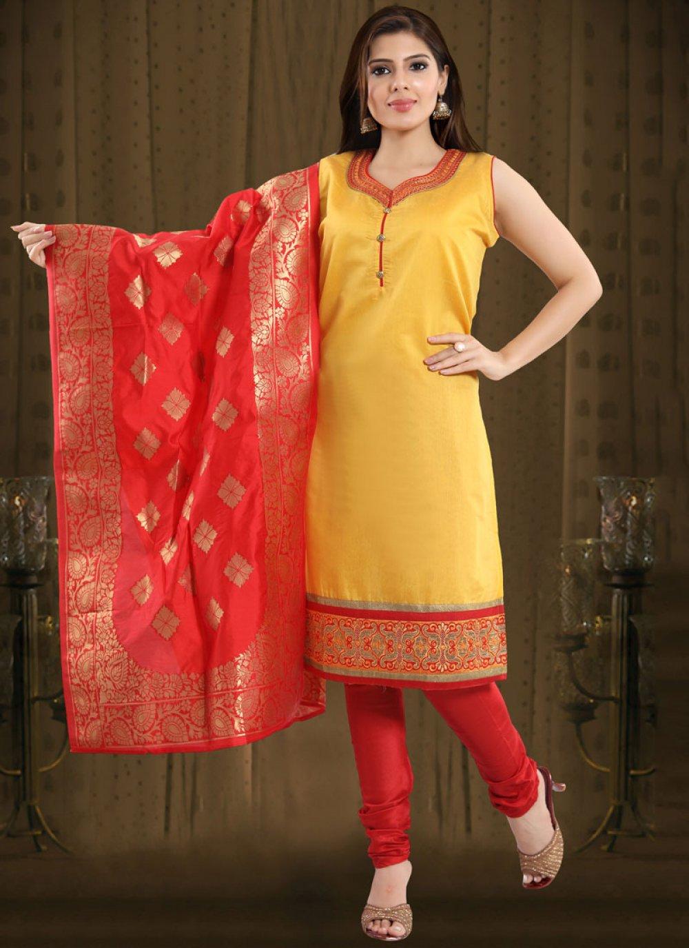 Chanderi Print Yellow And Red Churidar Salwar Kameez