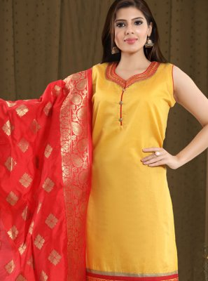 Chanderi Print Yellow And Red Churidar Salwar Kameez