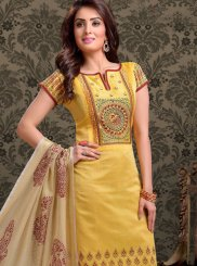 Chanderi Print Yellow Churidar Salwar Kameez