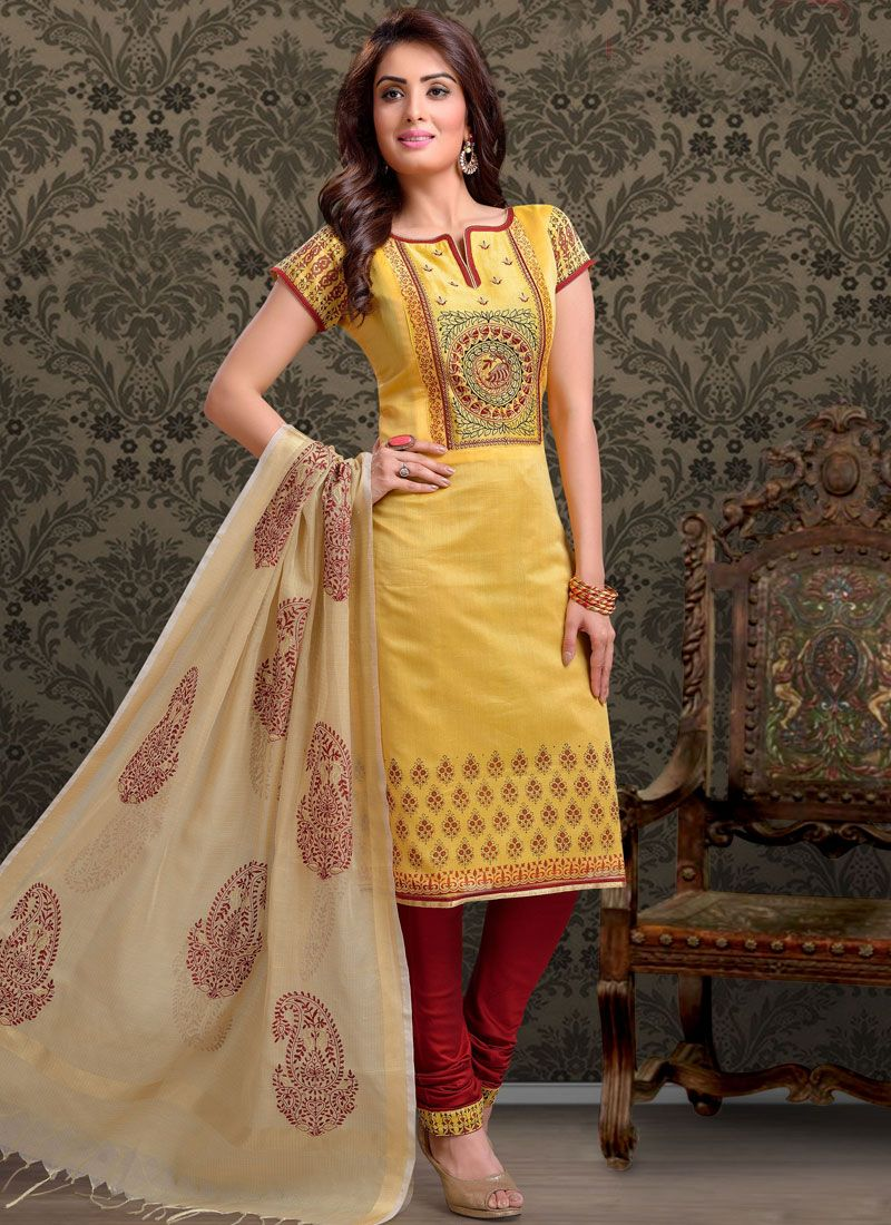 Chanderi Print Yellow Churidar Salwar Kameez
