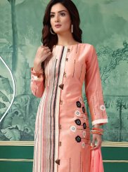 Chanderi Printed Churidar Salwar Kameez in Peach
