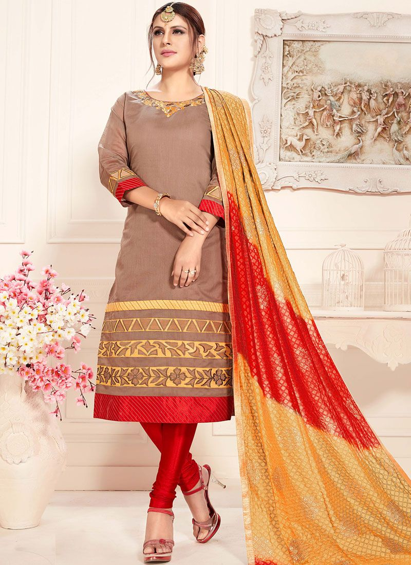 Chanderi Readymade Suit in Brown