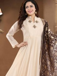 Chanderi Readymade Suit in Cream