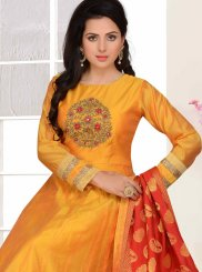 Chanderi Readymade Suit in Orange