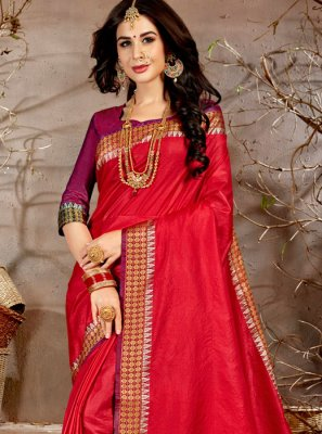Chanderi Red Traditional Saree