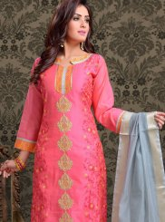 Chanderi Rose Pink Churidar Designer Suit