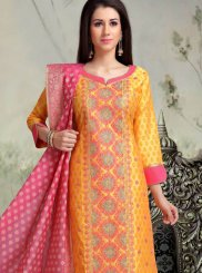 Chanderi Sangeet Churidar Designer Suit