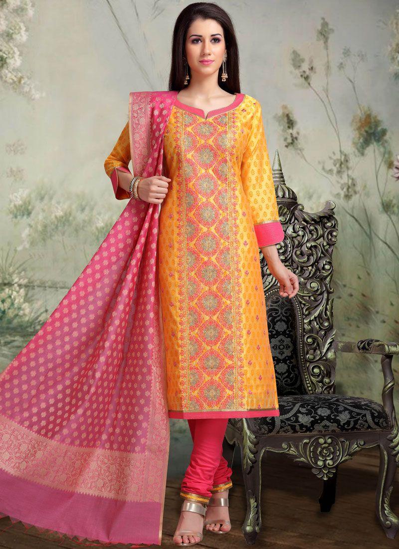 Chanderi Sangeet Churidar Designer Suit