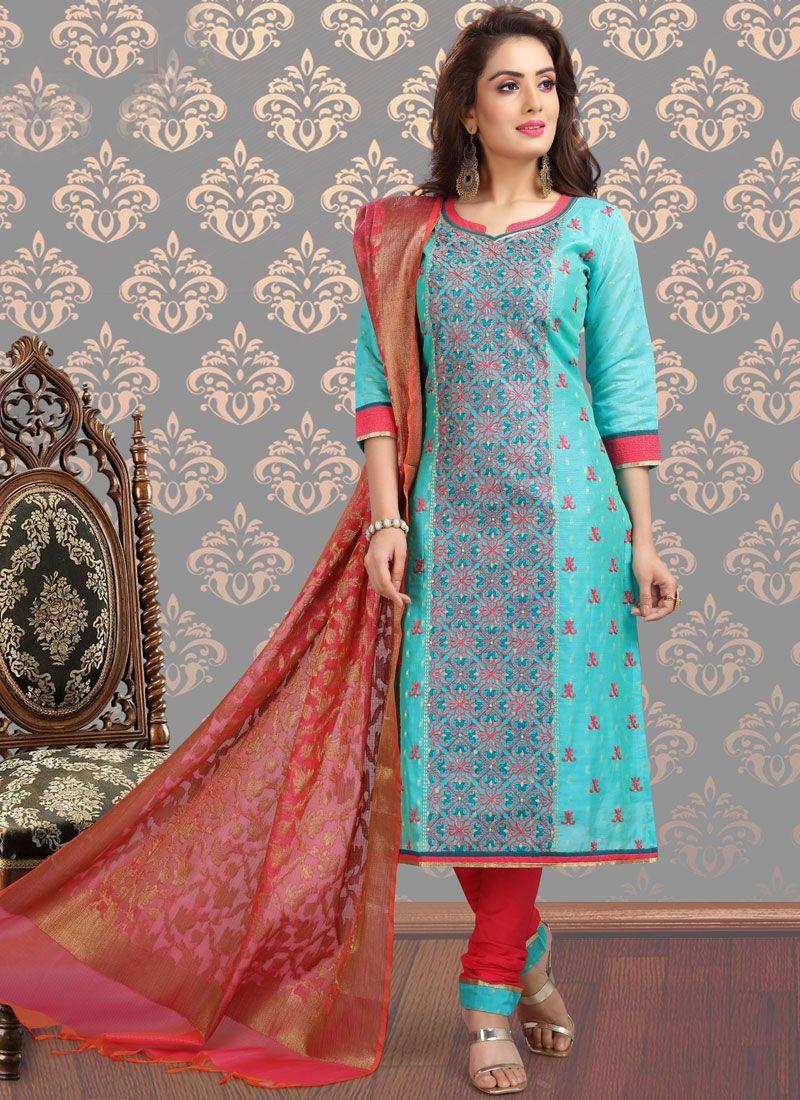 Chanderi Turquoise Embroidered Churidar Designer Suit