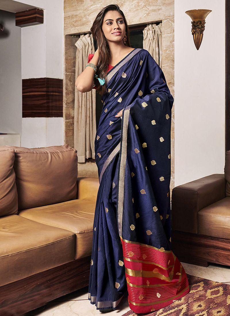 Chanderi Weaving Designer Saree in Navy Blue