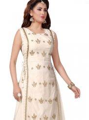 Chanderi White Embroidered Party Wear Kurti