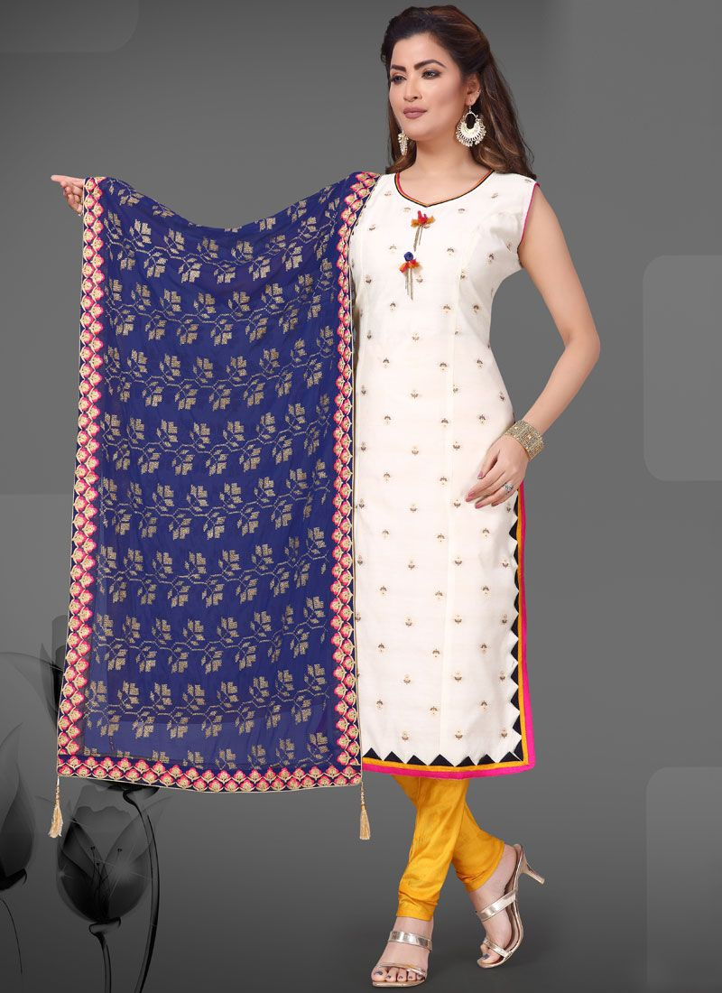 Chanderi White Readymade Suit