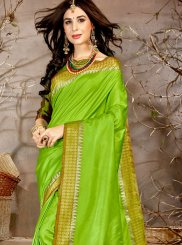 Chanderi Woven Traditional Saree in Green