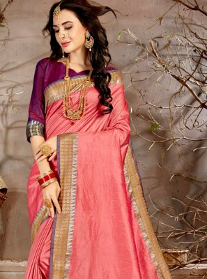 Chanderi Woven Traditional Saree in Pink