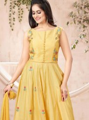 Chanderi Yellow Designer Gown