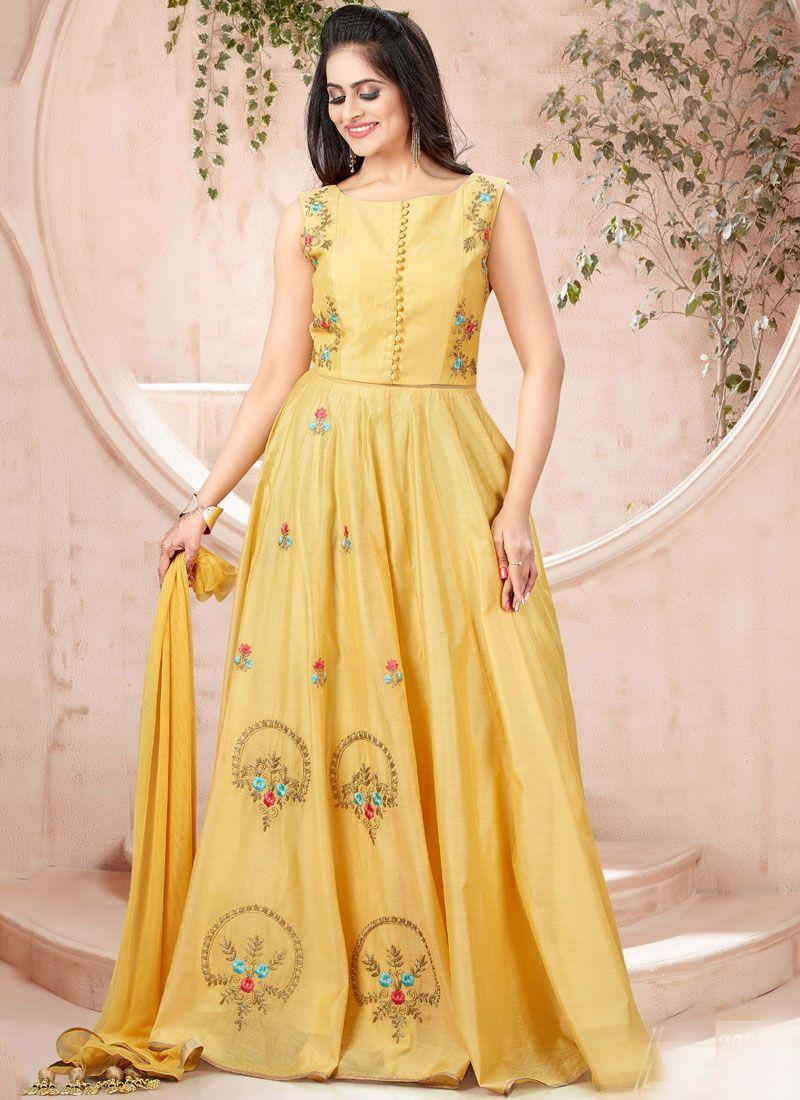 Chanderi Yellow Designer Gown