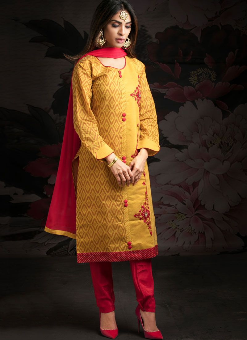 Chanderi Yellow Pant Style Suit
