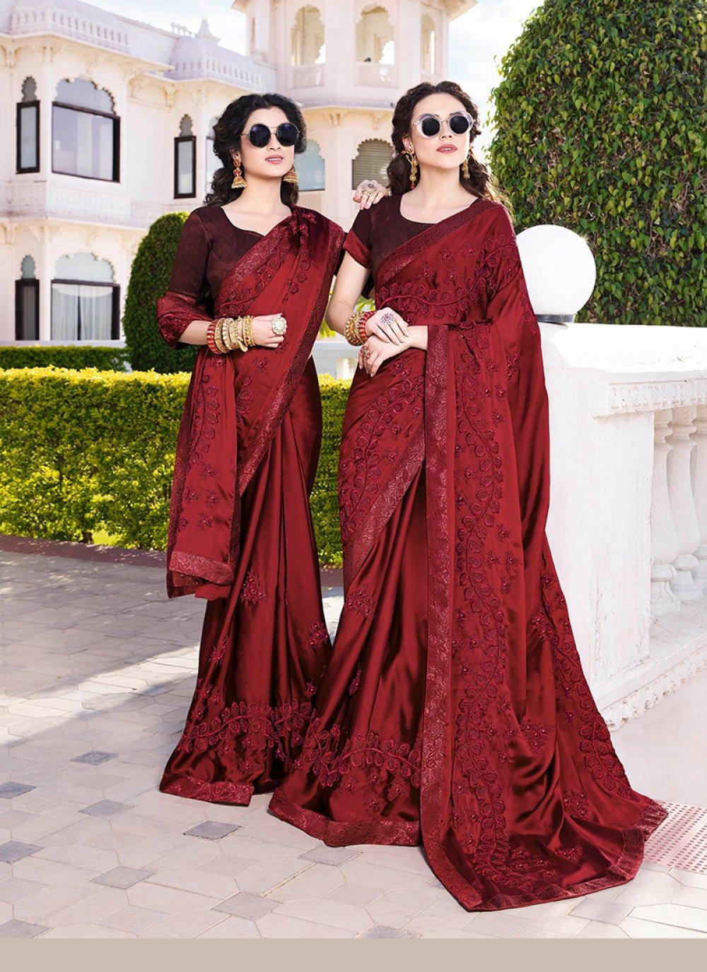 Chiffon Satin Embroidered Designer Saree