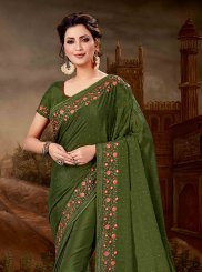 Chiffon Satin Embroidered Designer Saree