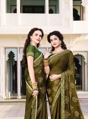 Chiffon Satin Green Traditional Designer Saree