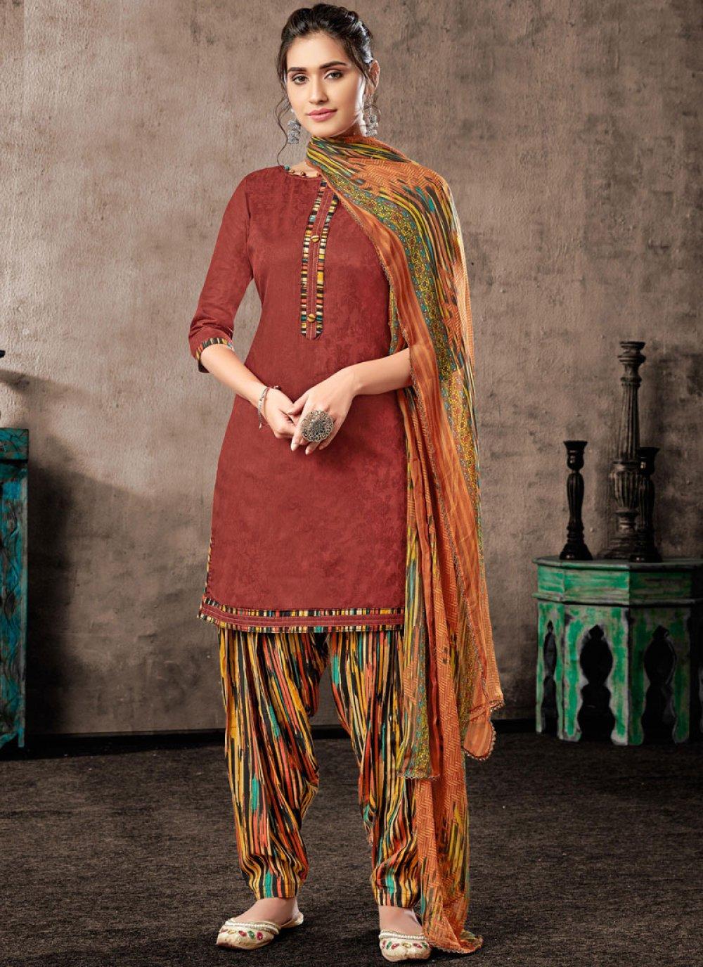 Chinon Patiala Salwar Suit in Maroon