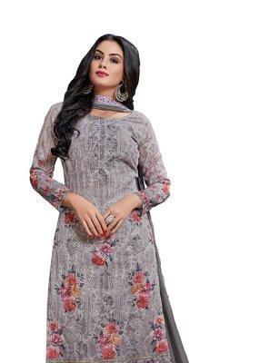 Churidar Designer Suit Abstract Print Cotton in Grey