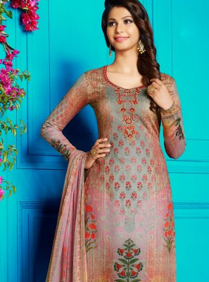 Churidar Designer Suit Abstract Print Cotton Satin in Multi Colour