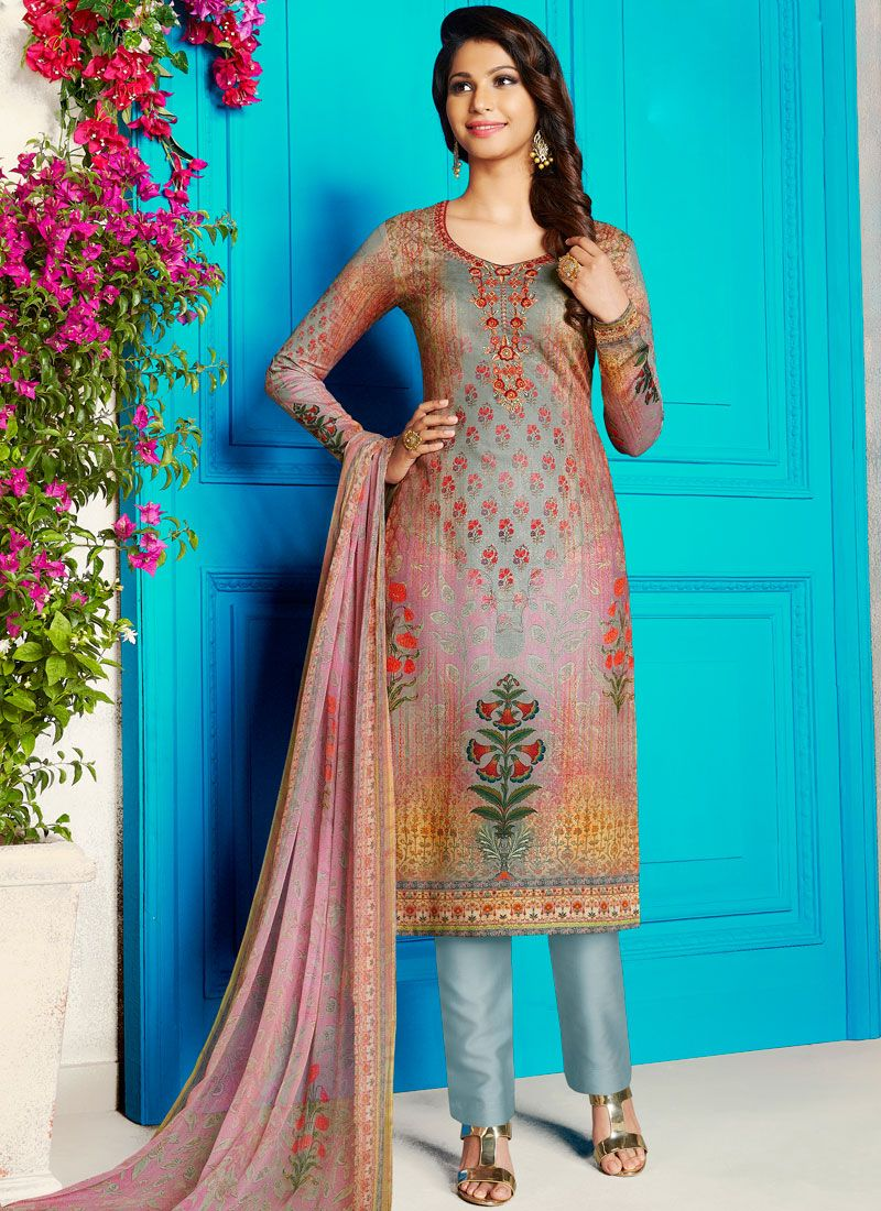 Churidar Designer Suit Abstract Print Cotton Satin in Multi Colour