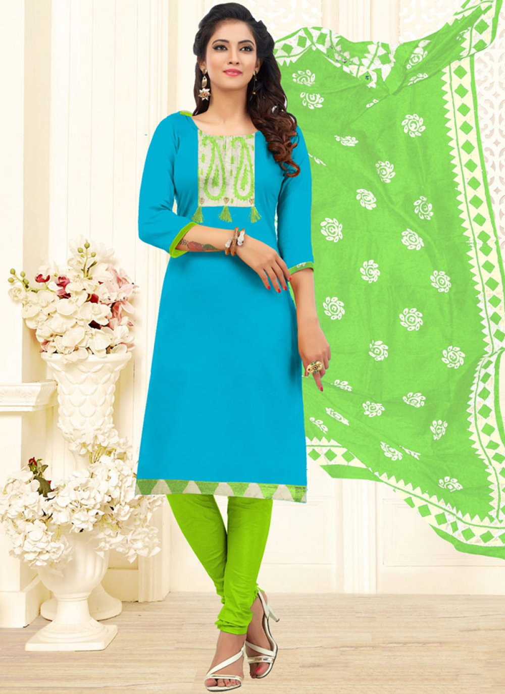 Churidar Designer Suit Embroidered Cotton in Aqua Blue