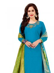 Churidar Designer Suit Embroidered Cotton   in Blue