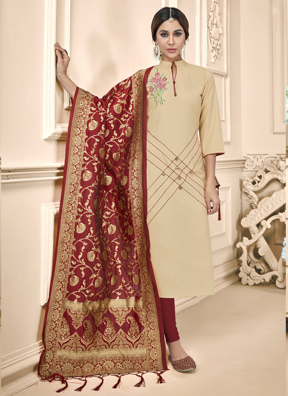 Churidar Designer Suit Embroidered Cotton in Cream