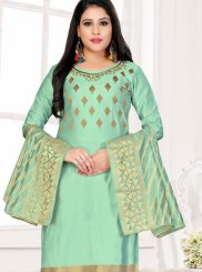 Churidar Designer Suit Embroidered Cotton in Sea Green