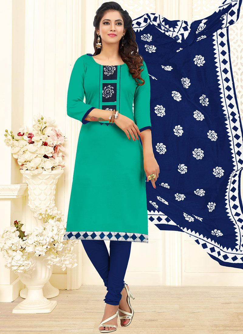 Churidar Designer Suit Embroidered Cotton in Teal