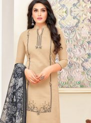 Churidar Designer Suit Print Art Silk in Beige