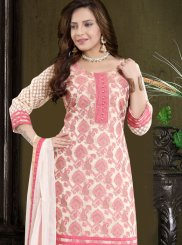Churidar Designer Suit Print Banarasi Silk in Peach