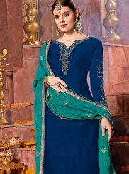 Churidar Designer Suit Resham Satin in Blue
