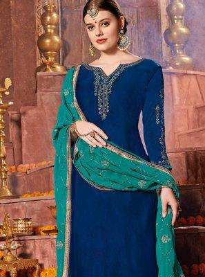 Churidar Designer Suit Resham Satin in Blue
