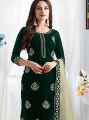 Churidar Designer Suit Resham Velvet in Green