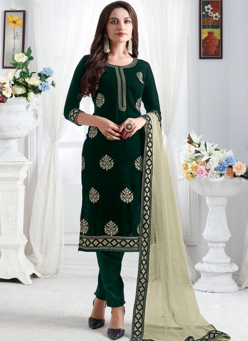 Churidar Designer Suit Resham Velvet in Green