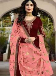 Churidar Designer Suit Stone Work Faux Georgette in Red