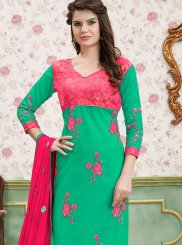 Churidar Salwar Kameez Border Cotton   in Green
