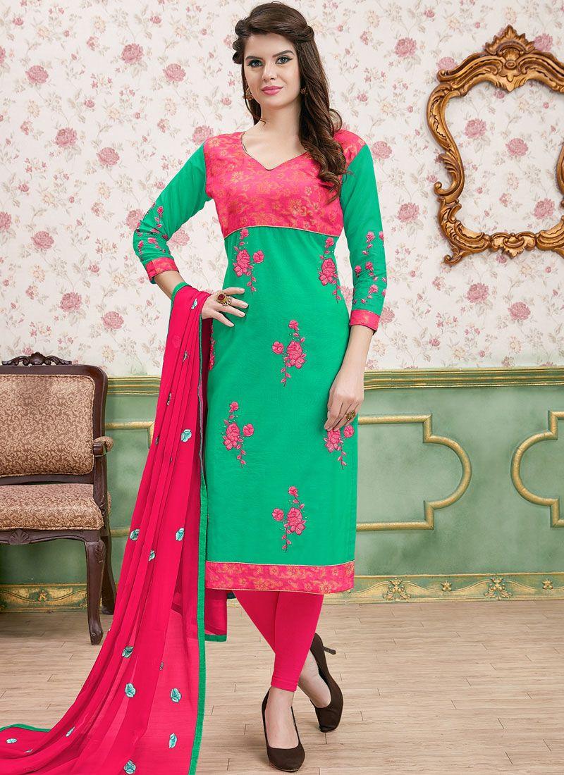 Churidar Salwar Kameez Border Cotton   in Green