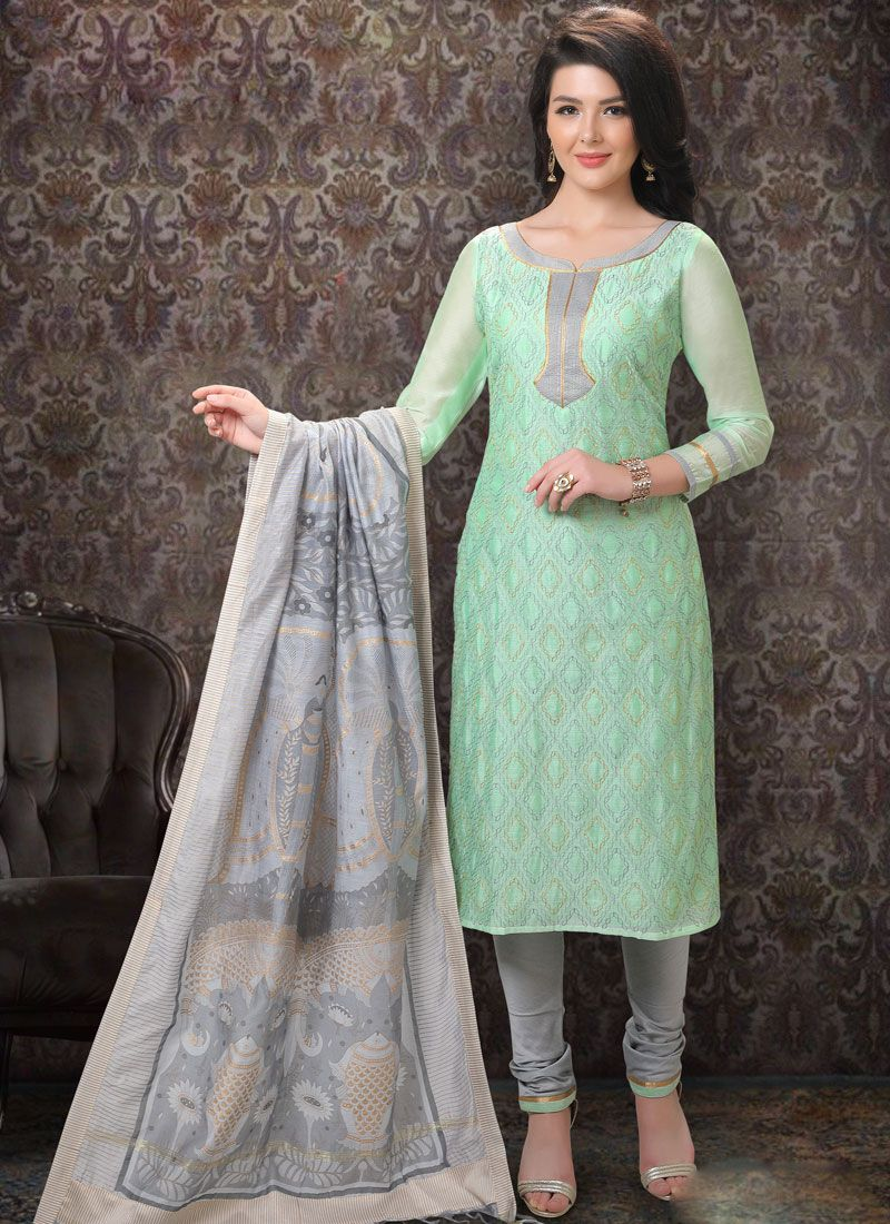 Churidar Salwar Kameez Embroidered Chanderi in Sea Green