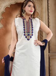 Churidar Salwar Kameez Embroidered Silk in White