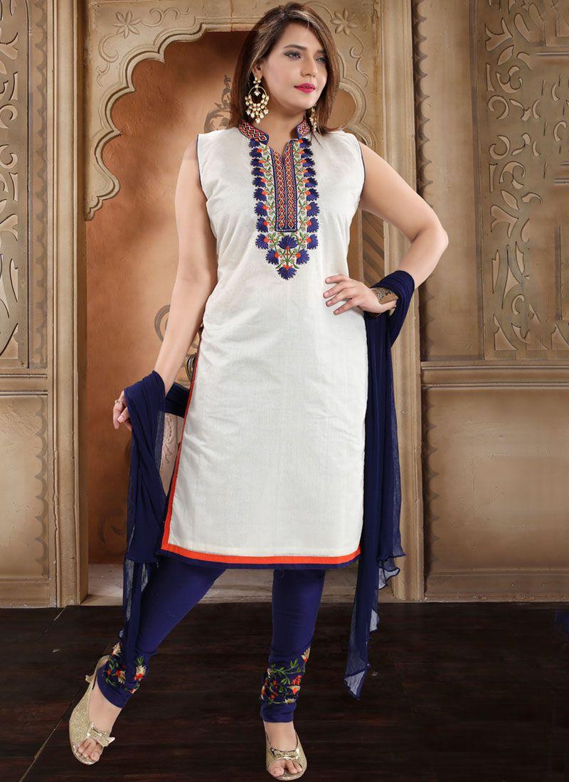 Churidar Salwar Kameez Embroidered Silk in White