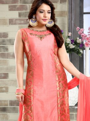 Churidar Salwar Kameez Handwork Brocade in Peach