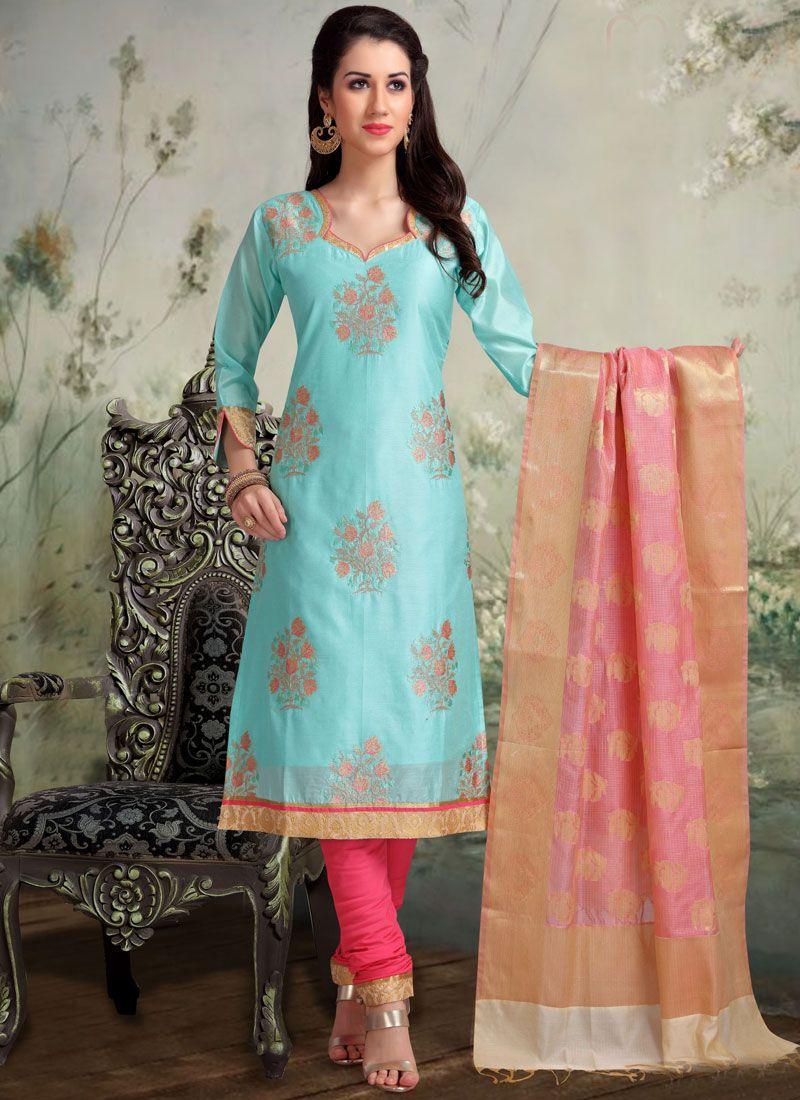 Churidar Salwar Suit Embroidered Banarasi Silk in Blue
